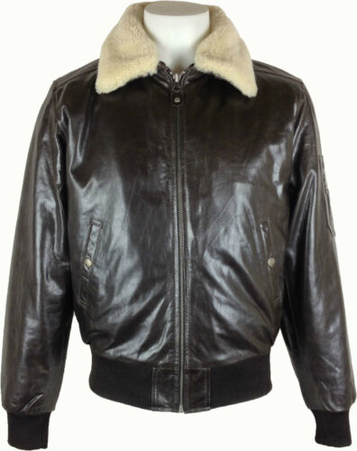Mens Aviator Pilot leather Jacket /'All Sizes/' #P2 real fur collar