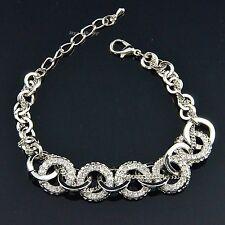 Fashion Silver Round Charm Rhodium Plated Swarovski Crystal Chain Bracelet
