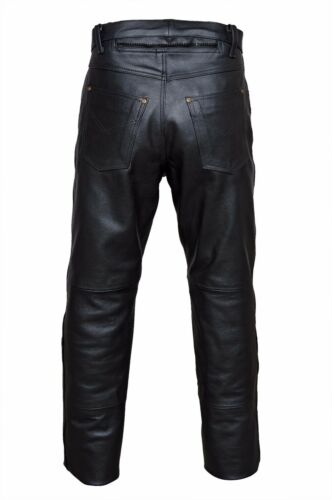 in pelle Jeans di pelle Lederhose Moto neri 5 Pantaloni vacchetta Biker tasche Zimmermann in q7wwn6CxI