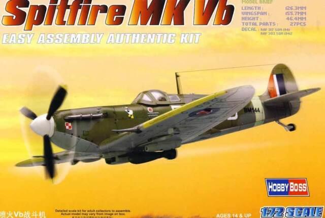 Hobbyboss Spitfire Mk.vb Royal Air Force 317/303 Pulido Fighter Sqn. 1:72 Modelo