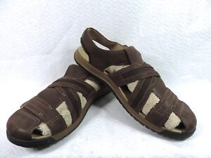 8c90ab0b418c Image is loading MERRELL-Traveler-Fisher-Espresso-Brown-Leather-Sandals- J62213-