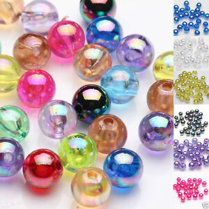 Hot-50-100Pc-Acrylic-Plated-AB-Round-Loose-Spacer-Beads-Jewelry-Finding-DIY-8mm
