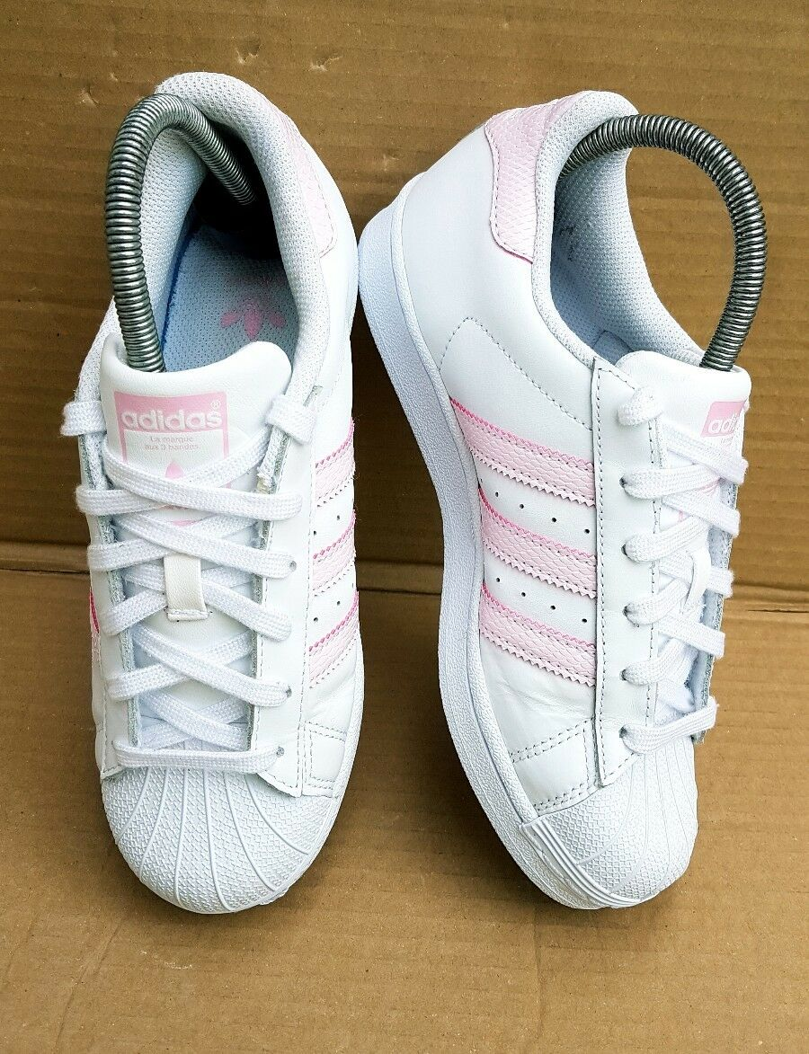RARE ADIDAS SUPERSTAR SHELL PINK TOE TRAINERS WHITE BABY PINK SHELL REPTILE SIZE 5 UK x a1e00f