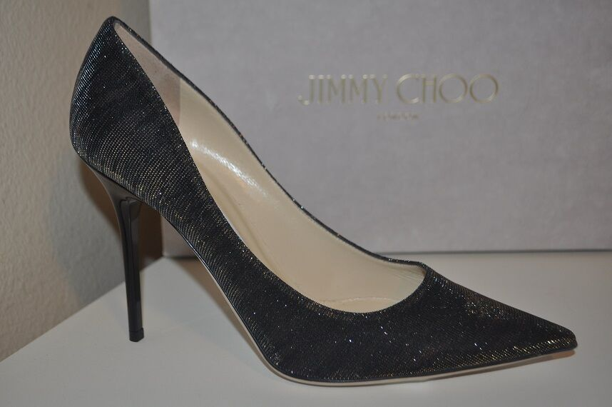 risparmia fino al 50% Jimmy Choo ABEL nero Amber Amber Amber Zebra Print Lame Glitter Pointy Toe Pump scarpe 39.5  alta quaità