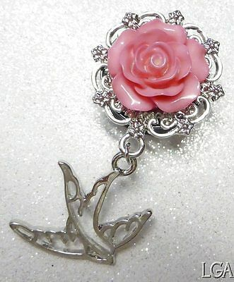 Ear Plug BLACK PINK Rose Swallow Bird Dangle resin acrylic Vintage 10mm - 20mm