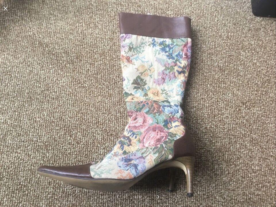 Støvler, str. 37, Blomstret