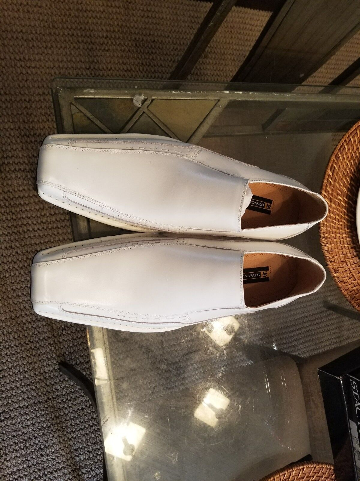 Men's Stacy Adams Dress shoes Solid White Slip On Loafers Leather TEMPLIN 24507