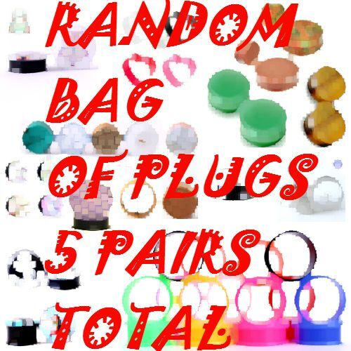 5 RANDOM PAIRS OF EAR PLUGS EAR GAUGES-MIXED STYLE-CHOOSE SIZE-10 PIECES TOTAL