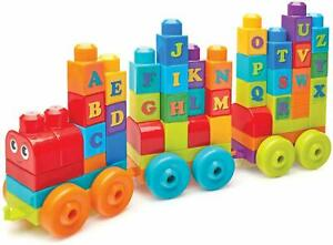 Charmant Mega Bloks Dxh35 Building Basics Abc Learning Train 60 Pièces Bloc Et Forme Set-afficher Le Titre D'origine Clair Et Distinctif