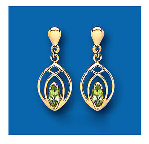 Image Is Loading Peridot Earrings Natural Marquise Yellow Gold
