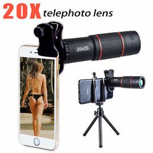20X Zoom Optical HD Monocular Telephoto BAK4 Pocket Telescope +Phone Clip+Tripod