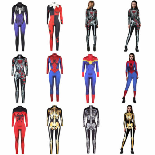 Women Catsuit Costume Bodycon Resilience Dress Jump Suit Halloween Party Cosplay