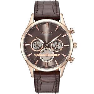 Gant-GT005003-Ridgefield-rosegold-braun-Leder-Armband-Uhr-Herren-NEU