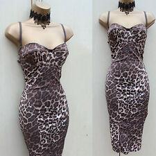 Karen Millen Vintage Brown Leopard Print Bodycon Wiggle Cocktail Dress 10 UK