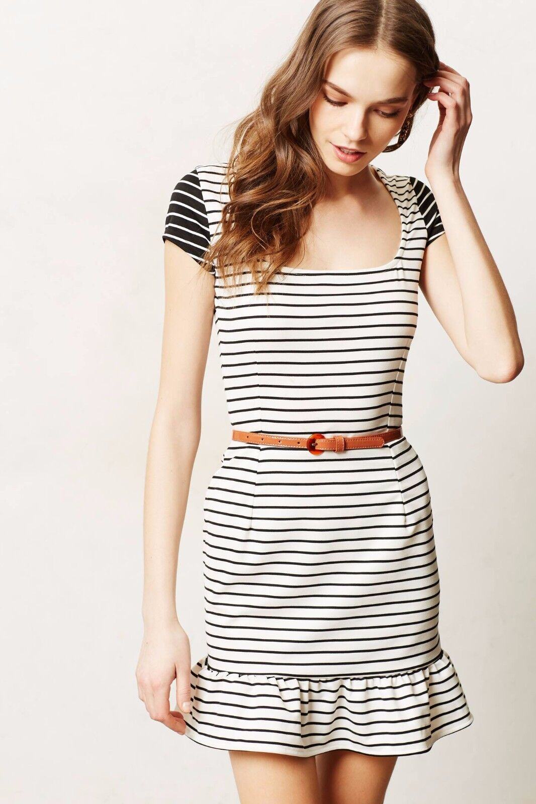 NIP Anthropologie Inverse Stripe Day Dress , Sizes, Flounced Hem By Maeve