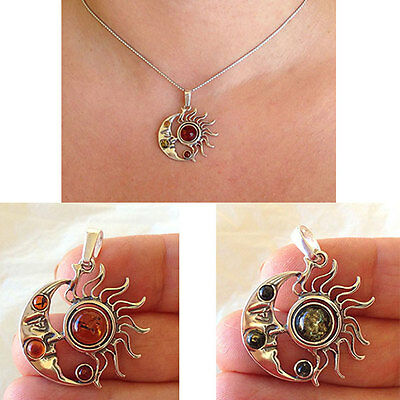 BALTIC HONEY or GREEN AMBER /& STERLING SILVER HALF MOON PENDANT