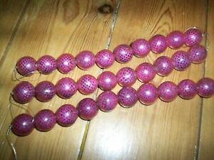 3 strands printed wooden 30in total beads 20mm purple pattern NEW - Hampton, United Kingdom - 3 strands printed wooden 30in total beads 20mm purple pattern NEW - Hampton, United Kingdom