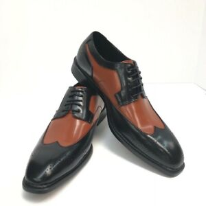 Bolano Men's Wing Tip Oxford Two Tone Cognac & Black Dress Shoes Size 8.5
