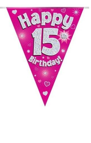 15TH BIRTHDAY PARTY BUNTING BANNER PINK HOLOGRAPHIC 11 FLAGS 3.9M