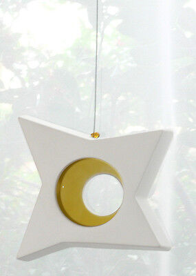 Ivory Star Yellow Inside Hanging Tealight Candle Holder Balcony Garden Deck Tree