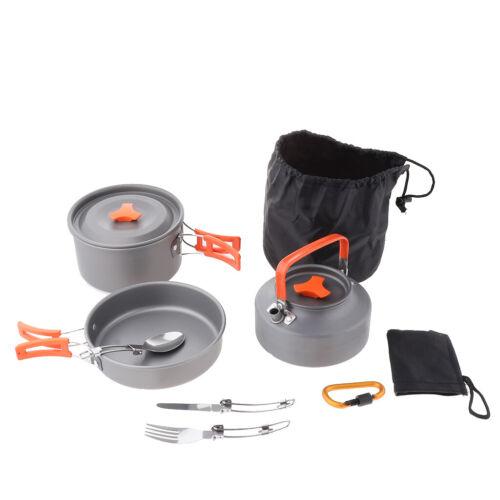 Aluminum Cookware Cutlery Set Camping Pot Frying Pan Water Kettle Non-stick