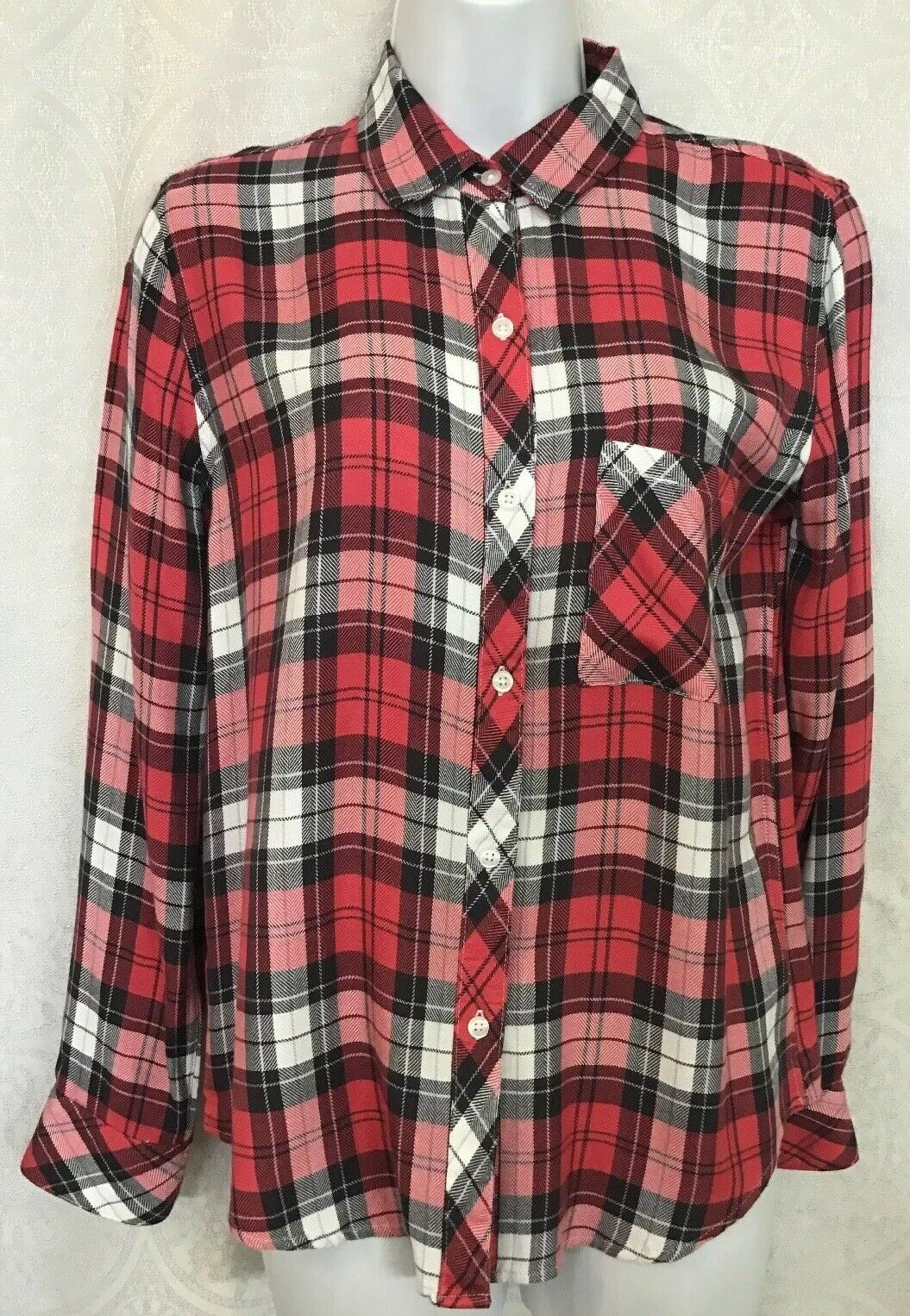 Rails Shirt Hunter Ash Scarlet And Weiß Plaid Long sleeve Größe XS  Nwt