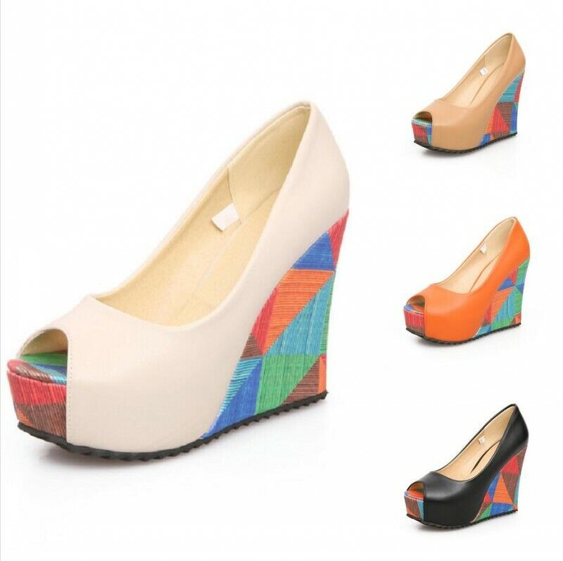 Femmes Bout Ouvert Supper High Wedge Talons À Enfiler Plateforme Sandales Chaussures Escarpins US