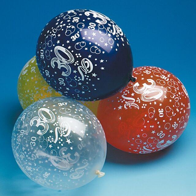 5 Luftballons Zahl 30 Geburtstag bunt Deko Party Dekoration D 30 cm U 96 cm