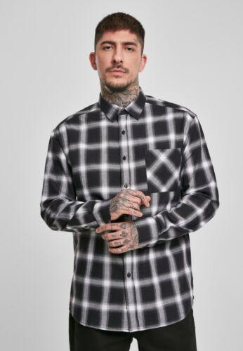 URBAN CLASSICS Camicia uomo casual a quadri in cotone Over sizes Black//White
