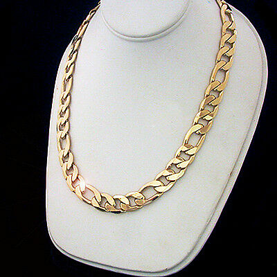 """Mens 12mm 3+1 FIGARO Link 14K GOLD Layered 18"""" Necklace + LIFETIME GUARANTEE"""