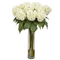 "Nearly Natural 31"" White Hydrangea Silk Flower Arrangement Flowers and Plants"