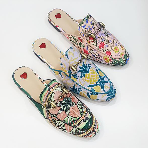 Horsebit Floral / Pineapple Printed Princetown Slide Backless Loafers Slippers