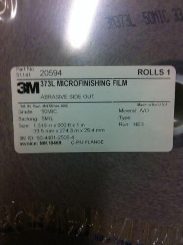 """3M 20594  373L Microfinishing Film Roll 50MIC 1.319/""""X900/' NEW"""
