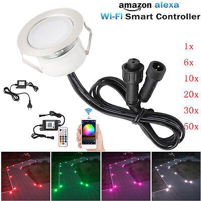 6er Set Wifi Kontroller 61mm RGBW LED Bodeneinbauleuchte Außenlampe Einbauspots