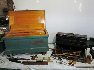 2-Patternmakers-Tool-Boxes-Full-of-Wm-Ahrens-039-Antique-Tools-60-Chisels-Etc