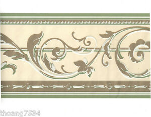 Metallic-Gold-Shiny-Sage-Green-Cream-Acanthus-Leaf-Scroll-Wall-paper-Border