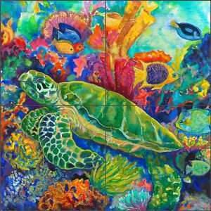 Tile-Mural-Backsplash-Ceramic-Clifford-Undersea-Turtle-Sea-Life-Art-CPA-GCB0206