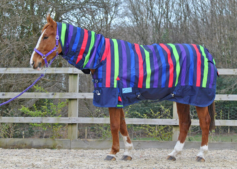 MAXIMA 1200 DENIER HEAVYWEIGHT (400G) COMBO TURNOUT RUG MULTI STRIPE 4'9-7'0