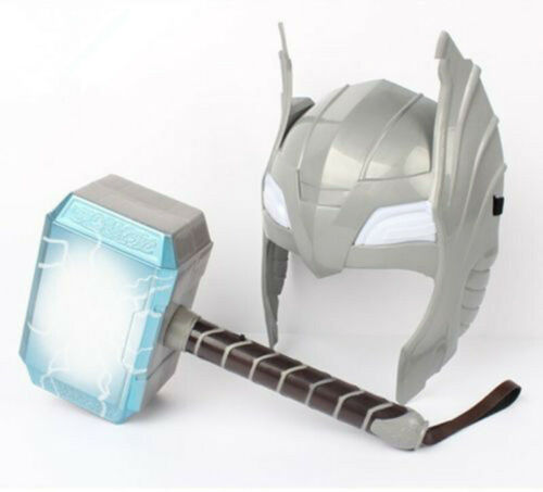 Avengers LED Glowing And Sounds Thor Hammer Helmet Mask Kids Cosplay Toys Gift