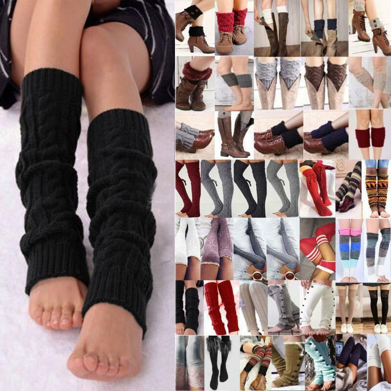 Damen Strick Gehäkelt Stulpen Beinwärmer Strümpfe Winter Beinstulpen Socken Mode