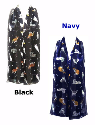 Cute CATs Kitten with PAWs animal print Silky Scarf Shawl Wrap Stole UKpost