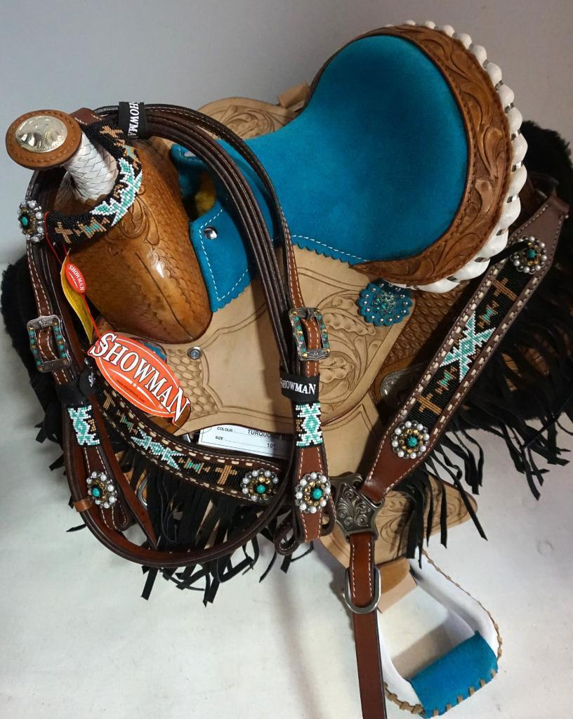 10  Med O bluee Tooled Trail Western PONY MINI Show Saddle+ HSBP Pad Girth 6pc