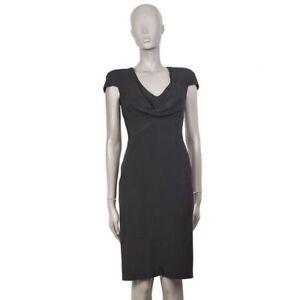 098b66b902 56636 auth ALEXANDER MCQUEEN black silk Cap Sleeve Cowl Neck Sheath ...