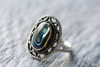 Paua Abalone Shell Cocktail Ring, 925 Sterling Silver Statement Ring
