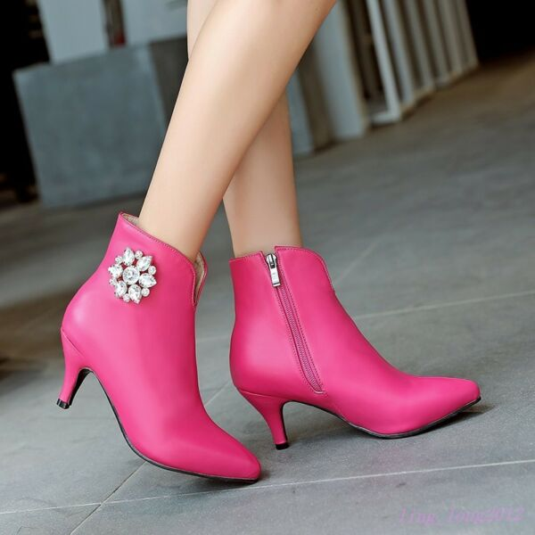 5baa461a8af0 X Hot Sale Womens Side Zipped Pointy Toe Kitten Heels Ankle Boots Crystal  shoes. Hover to zoom
