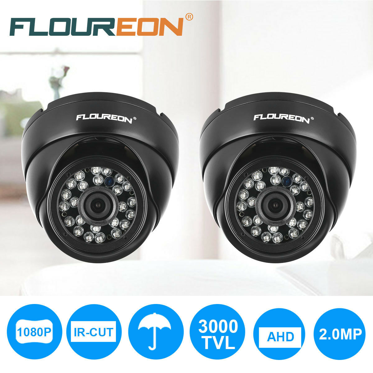 Floureon 1080p AHD 2.0mp 3000tvl Infrarojo CCTV DVR Sicurezza Esterna