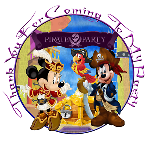 70x Mickey/'s Pirate party 37mm stickers favours cone labels birthday parties