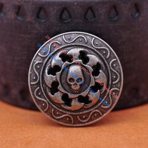 Western Cowboy Leathercraft Handcrafted Belts Wallet Skull Conchos Screw Back Decor Leather Biker Accessories