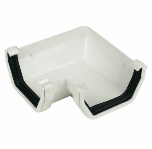 White FLOPLAST 114mm Square Gutter 90 Degree Angle PACK OF 2