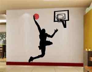 Basketball Slam Dunk Wall Sticker Transfer Art Mural Decal Poster Decor RU0